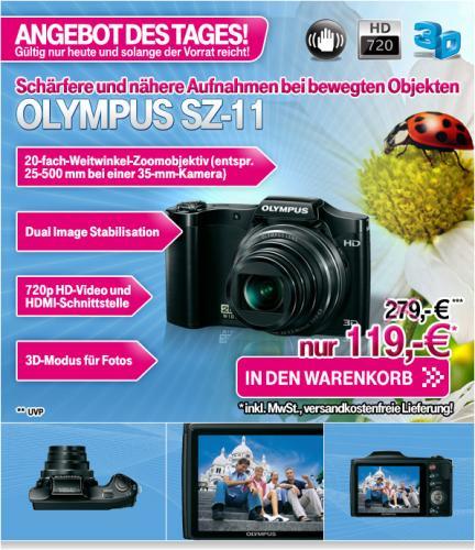 Olympus SZ-11 schwarz 14 MPix im Angebot des Tages 119 EUR