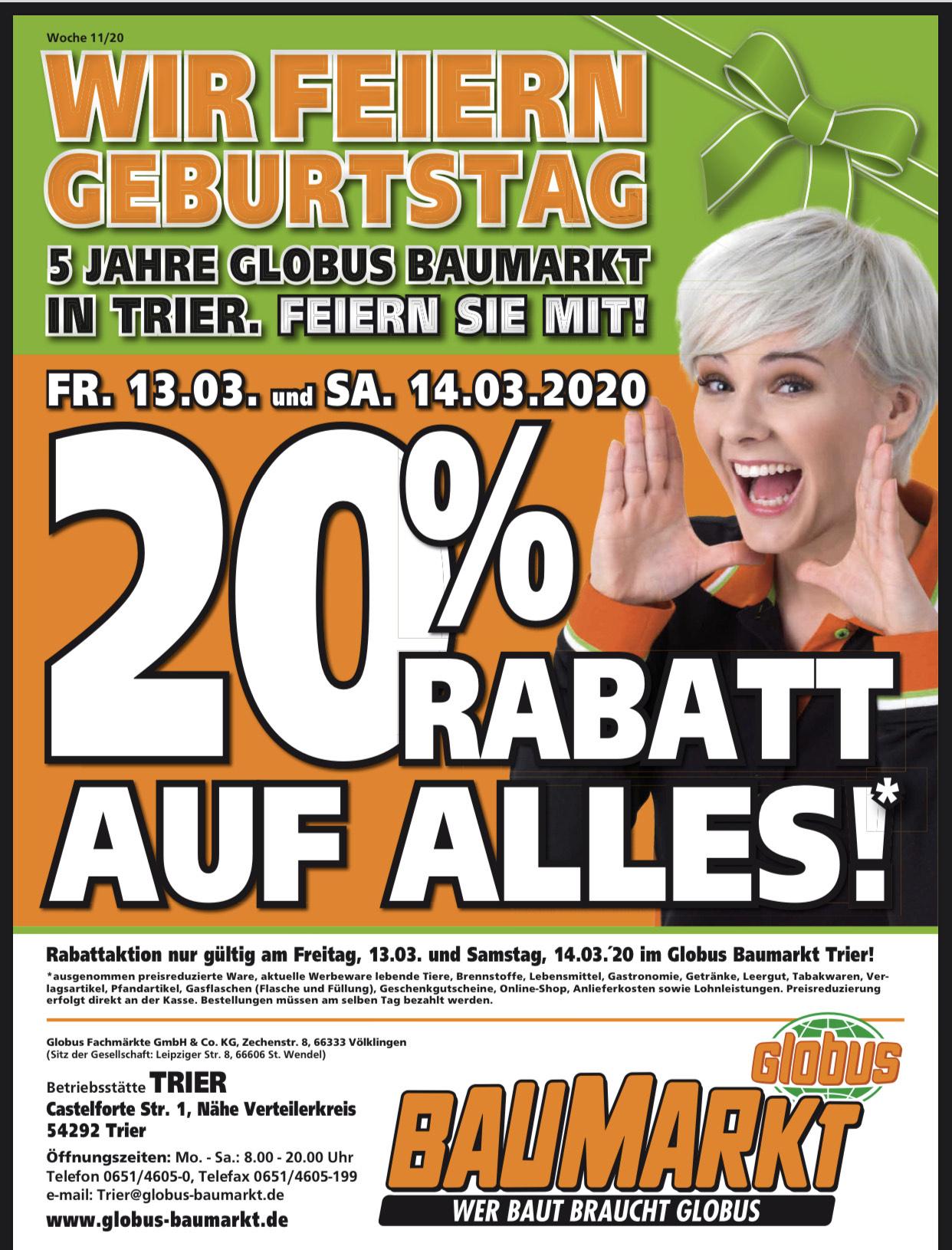 *LOKAL* Trier (RLP) Globus Baumarkt 20% Rabatt auf alles
