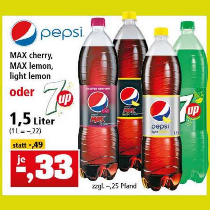 Pepsi Max Cherry, Lemon & Light Lemon oder 7Up 1,5l für je 33 Cent [Thomas Philipps]
