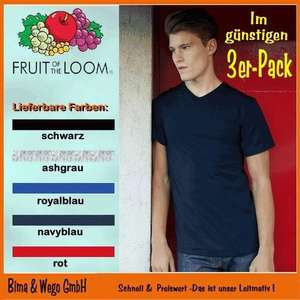 6x Herren Basic T-Shirts mit V-Ausschnitt (Fruit of the Loom)