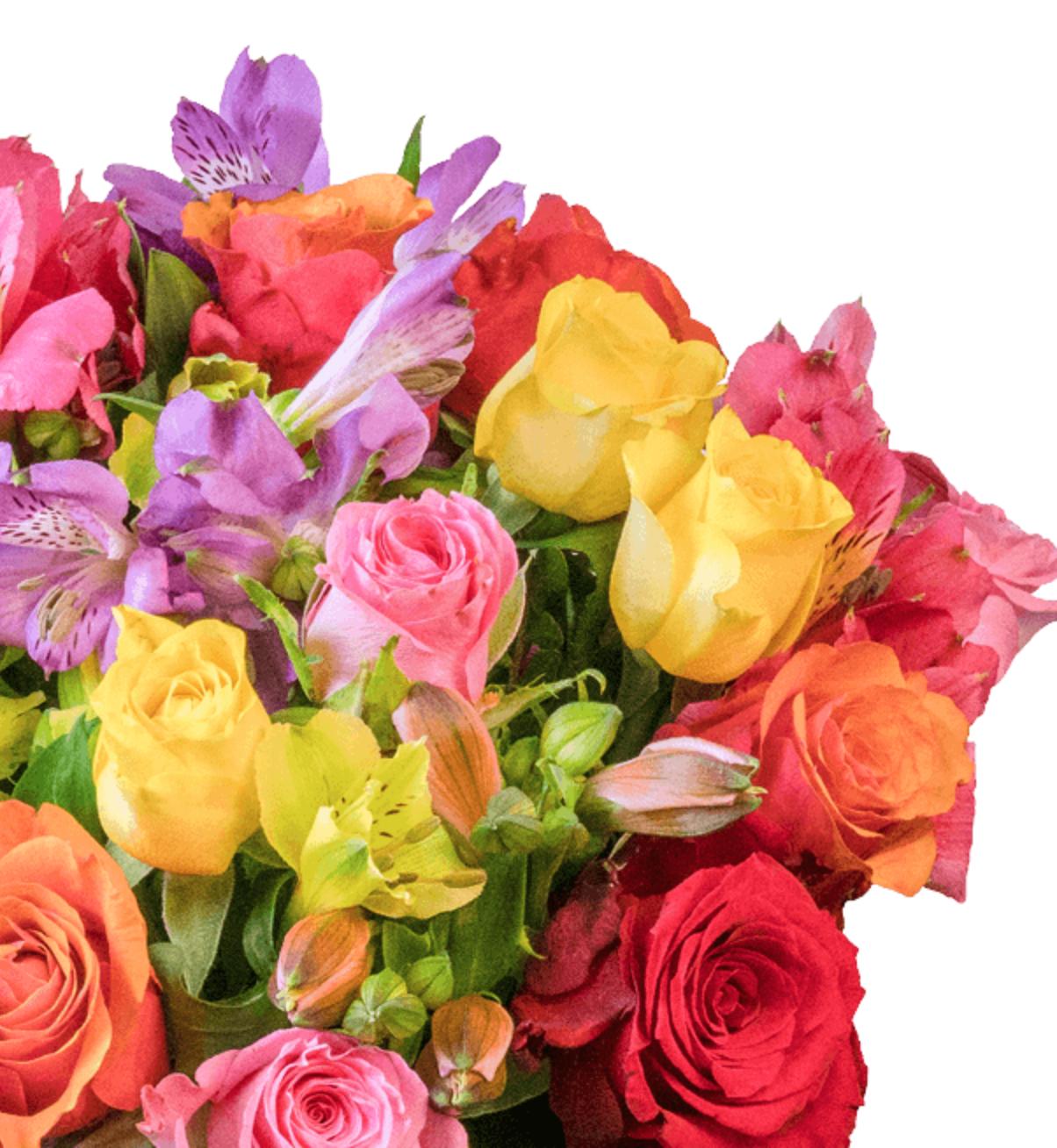 Rosenstrauß 'Farbspiel' mit Rosen und Inkalilien - 30 Stiele und bis zu 100 Blüten