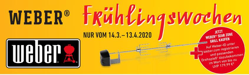 Weber Frühlingswochen gratis Grillspieß beim Kauf eines Weber Grills mit Sear Zone Typ Spirit 330/335 oder Genesis II 330/335/435