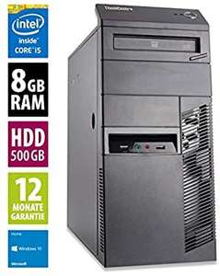 Lenovo ThinkCentre M92p MT - Core i5-3470 @ 3,2 GHz - 8GB RAM - 500GB HDD - DVD-ROM - Win10Home (Zertifiziert und Generalüberholt, AfB Gmbh)