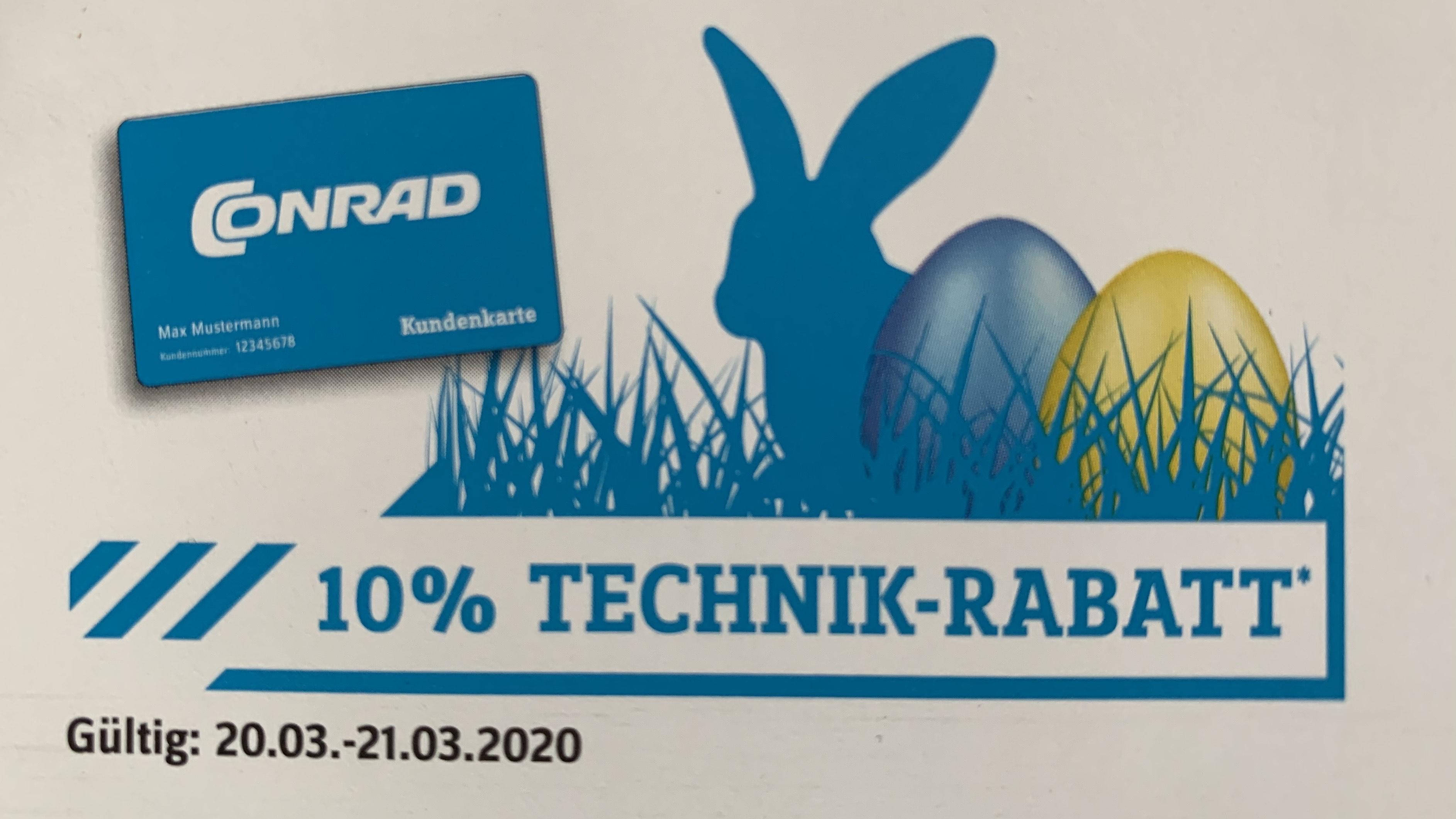 Conrad 10 % Technik-Rabatt für Kundenkarten-Inhaber