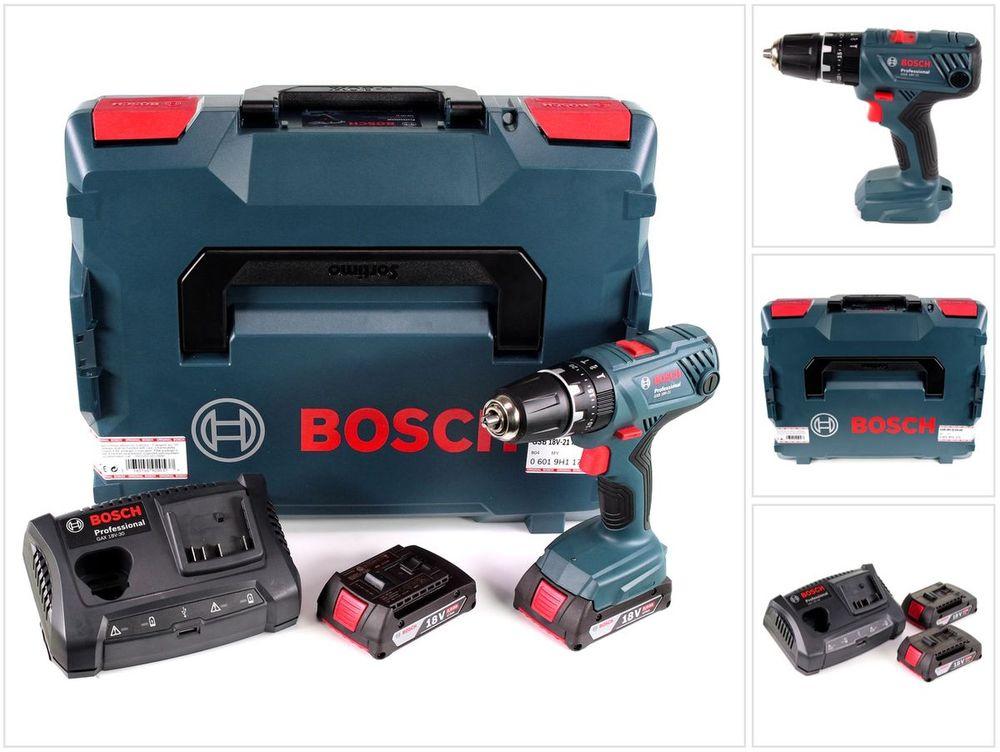 Bosch GSB 18V-21 Professional Akku-Schlagbohrschrauber inkl. Koffer 18 V, 2,0 Ah, 2 Akkus, 21/55 Nm