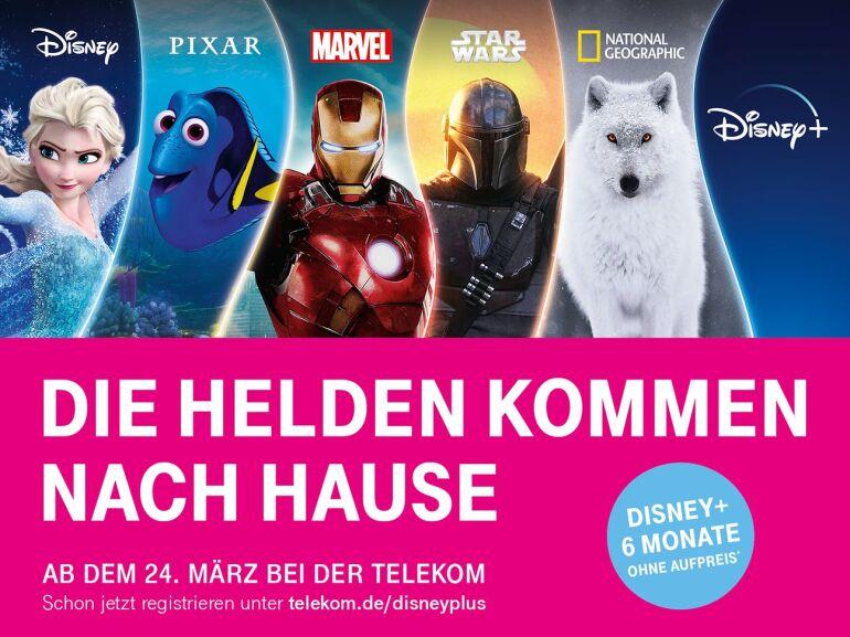 6 Monate gratis Disney+ für Telekom Magenta-Vertragskunden, danach 5€ statt 6,99€ pro Monat (monatlich kündbar)