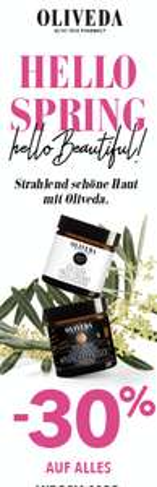 -30% auf das gesamte OLIVEDA - The Olive Tree Pharmacy Sortiment
