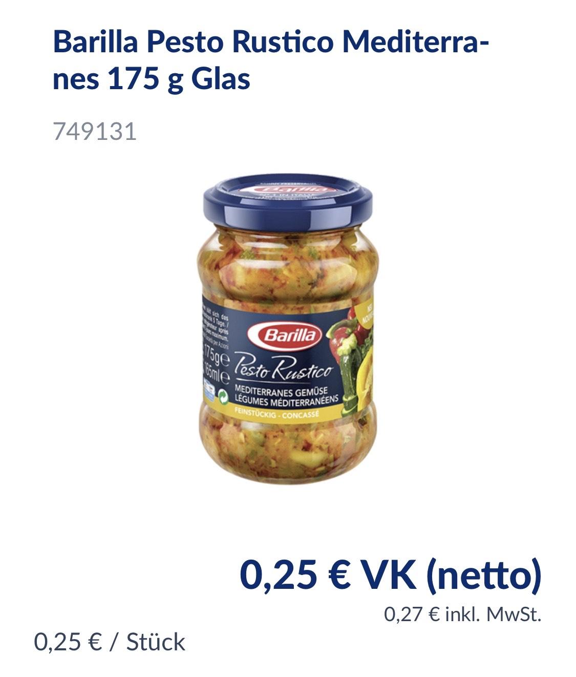 [Metro] Barilla Pesto Rustico Mediterranes 175 g Glas
