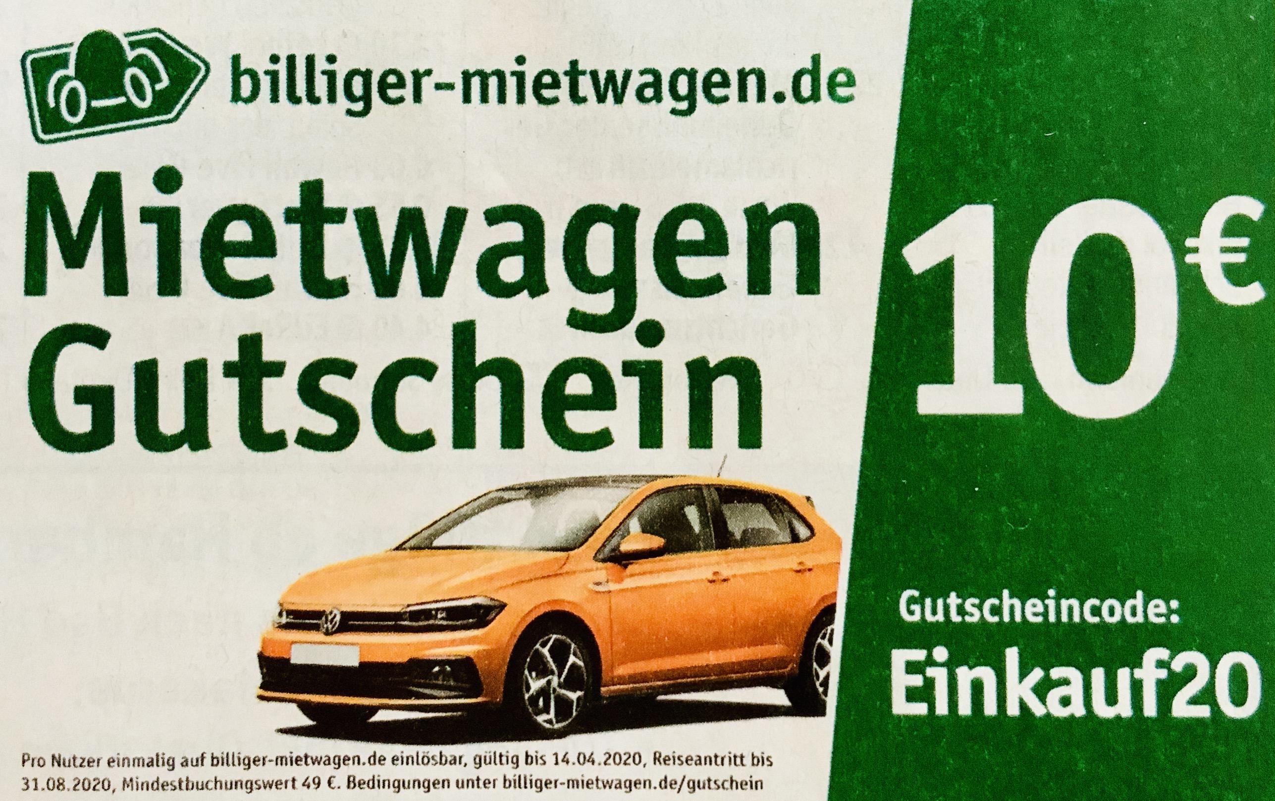 10€ Gutschein bereits ab 49€ bei billiger-mietwagen.de