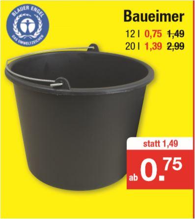 Baueimer 12 Liter für 75 Cent oder 20 Liter für 1,39 Euro (Blauer Engel) [Zimmermann]