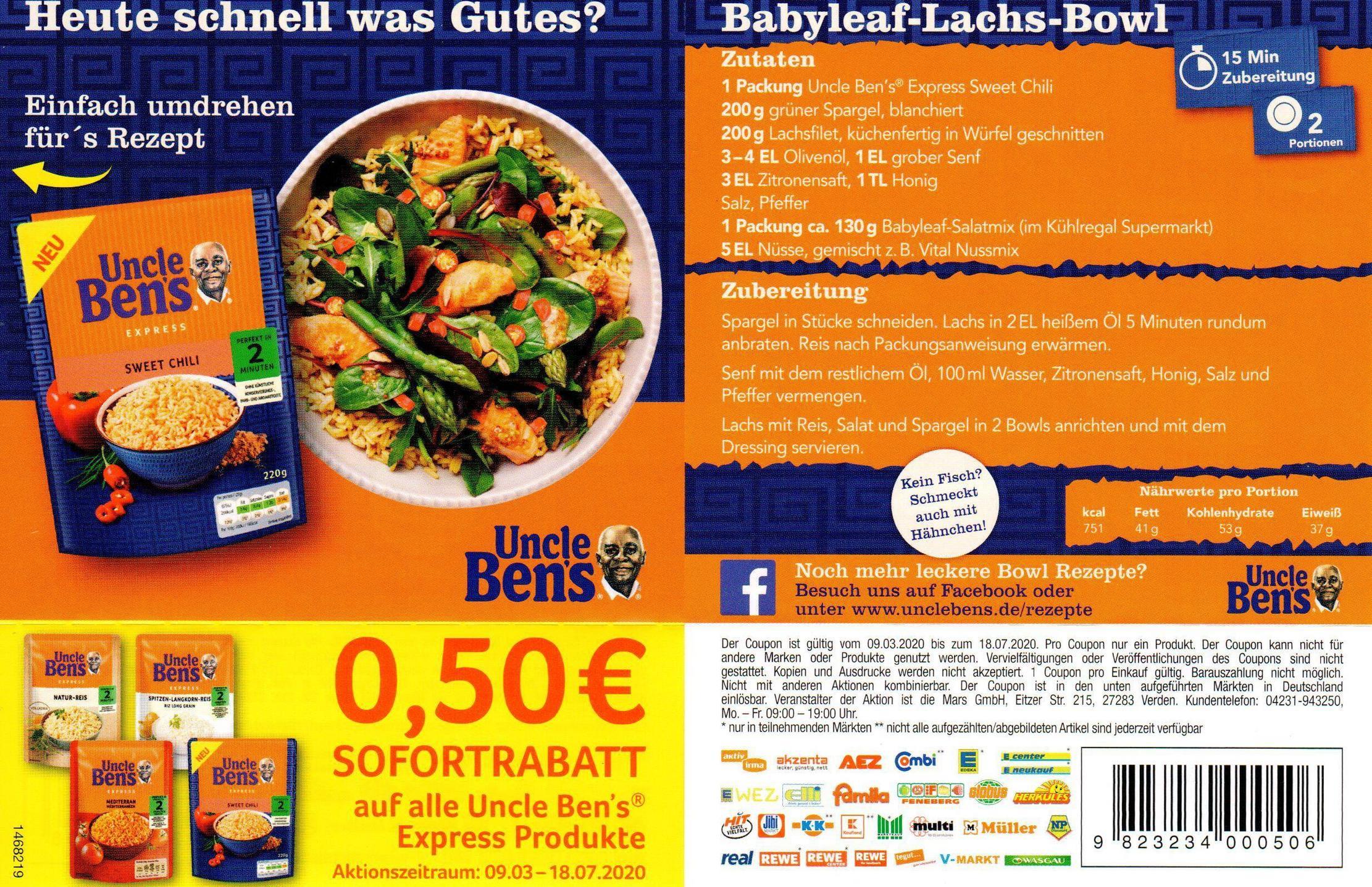 0,50€ Sofort-Rabatt Coupon für Uncle Ben's xpress Produkte