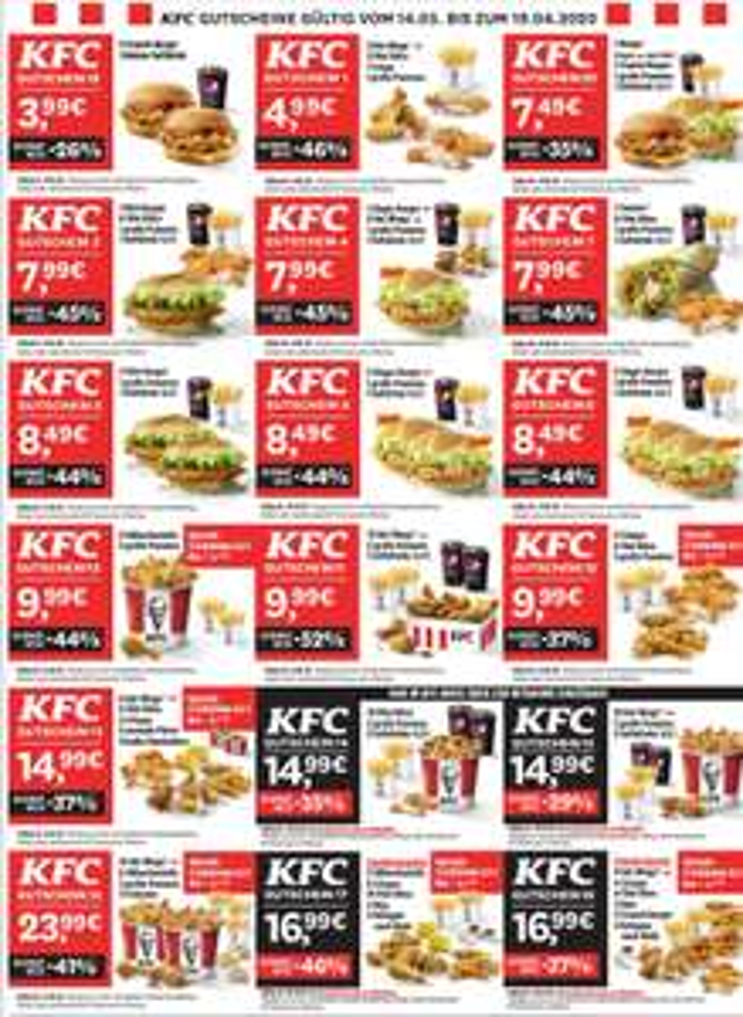 [lokal] Neuer KFC München Couponbogen - bis zu 46% Rabatt
