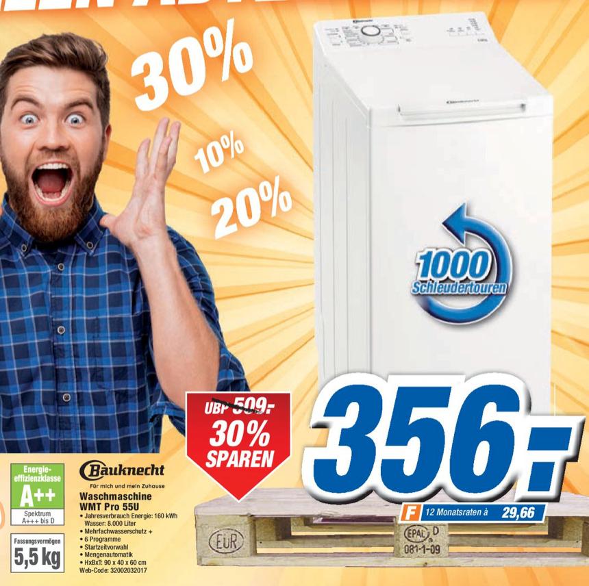 ( Expert Freital ) BAUKNECHT WMT PRO 55U Waschmaschine A++ 5.5 kg Toplader 1000 U/Min., Weiß