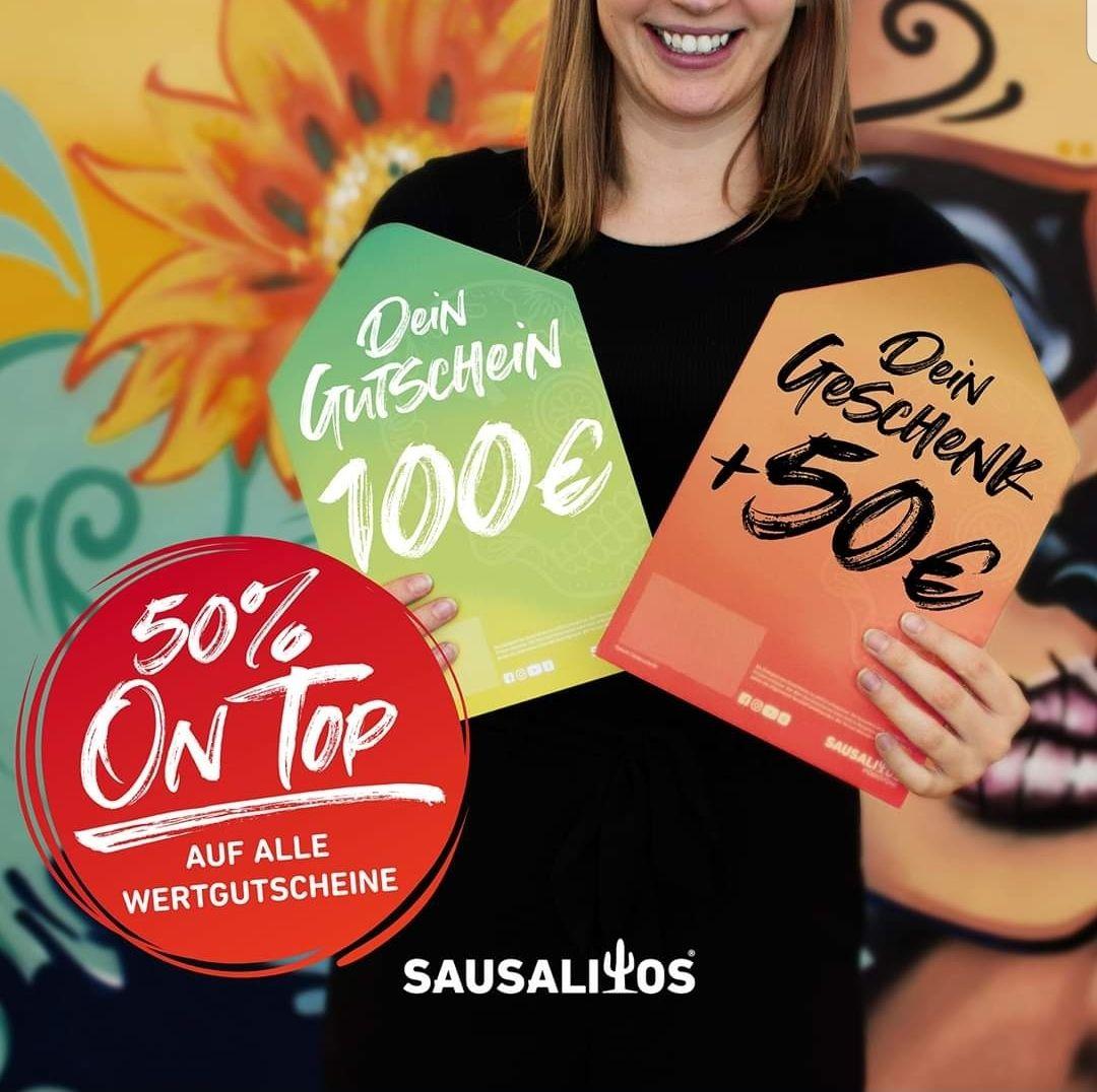Sausalitos wertgutschein + 50% geschenkt