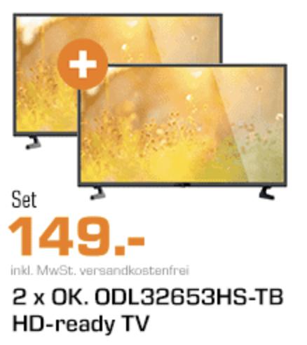 2x OK. ODL 32653HS-TB, 81 CM (32 ZOLL), HD-READY, LED TV, DVB-T2 HD, DVB-C, DVB-S, DVB-S2 [Saturn]