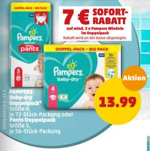 Pampers Baby-dry (pants) Doppelpack 13,99 € bzw 20,98 € (10,49 € pro Pack) für zwei [Penny] [16. - 21.03.]