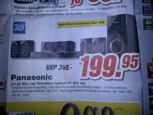 (Bundesweit? Medimax) Panasonic 3D Blu-Ray Heimkino System SC-BTT 190