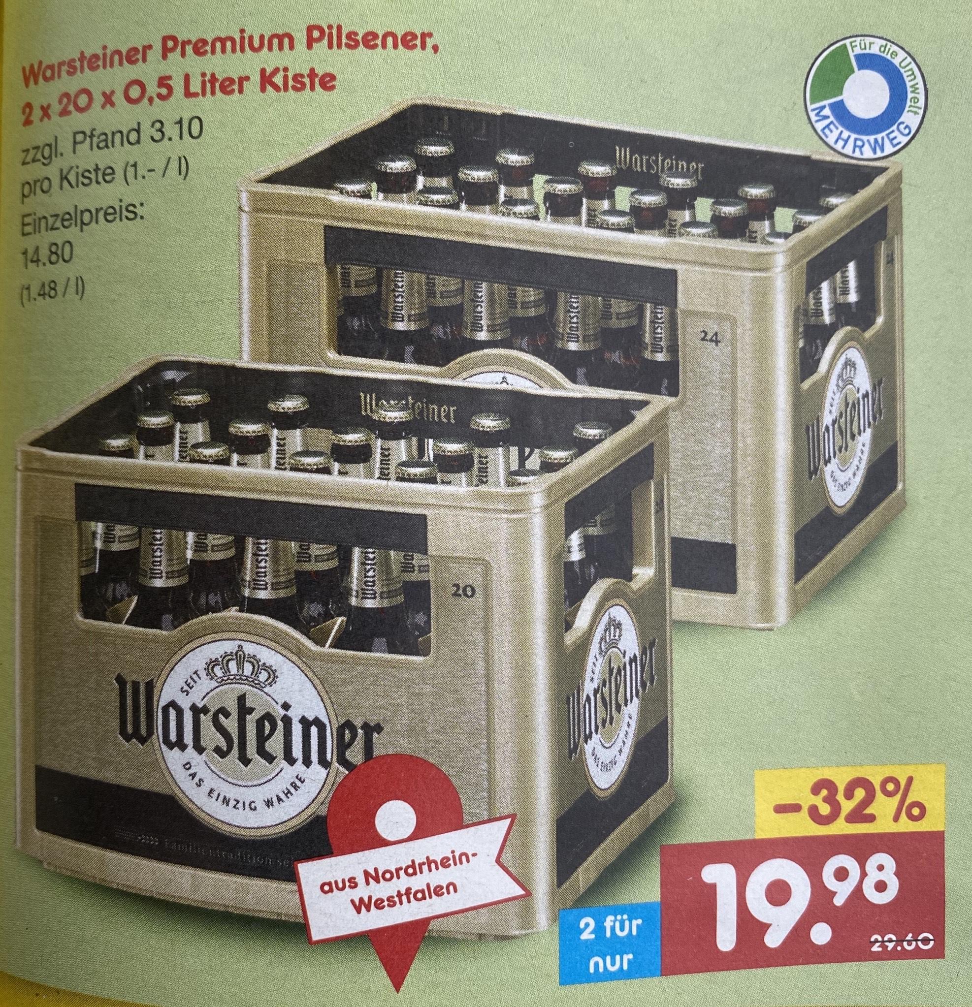 [Lokal Düsseldorf] 2x Warsteiner Premium Pilsener Kiste