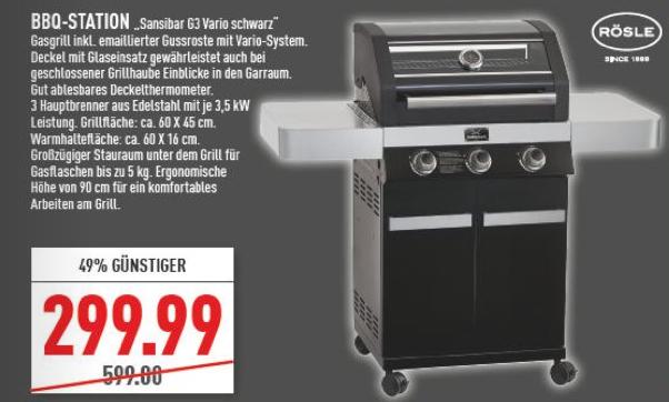 """Rösle BBQ-Gasgrill """"Sansibar G3 Vario"""" (3 Edelstahl-Brenner, Gusseisenrost, Glaseinsatz-Deckel, Deckelthermometer) [Marktkauf Filialen NRW]"""