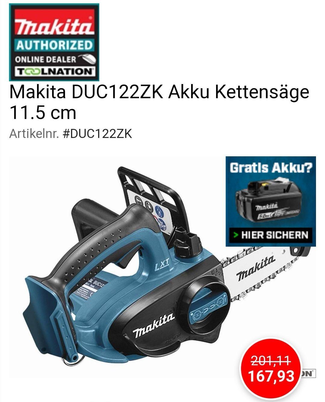 Makita DUC122ZK Akku Kettensäge 11.5 cm bei Toolnation