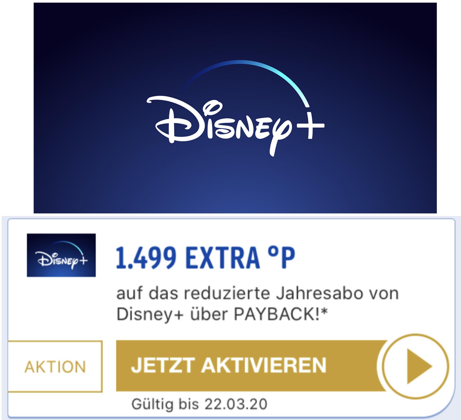 Payback: 1499 Extra Punkte (+ 50 Punkte) auf das reduzierte Disney+ Jahresabo - entspricht 14,99€ später auszahlbarem Cashback!