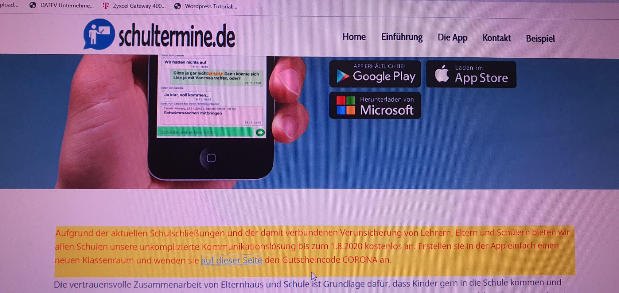 App für Schulkommunikation kostenlos bis 1.8.2020