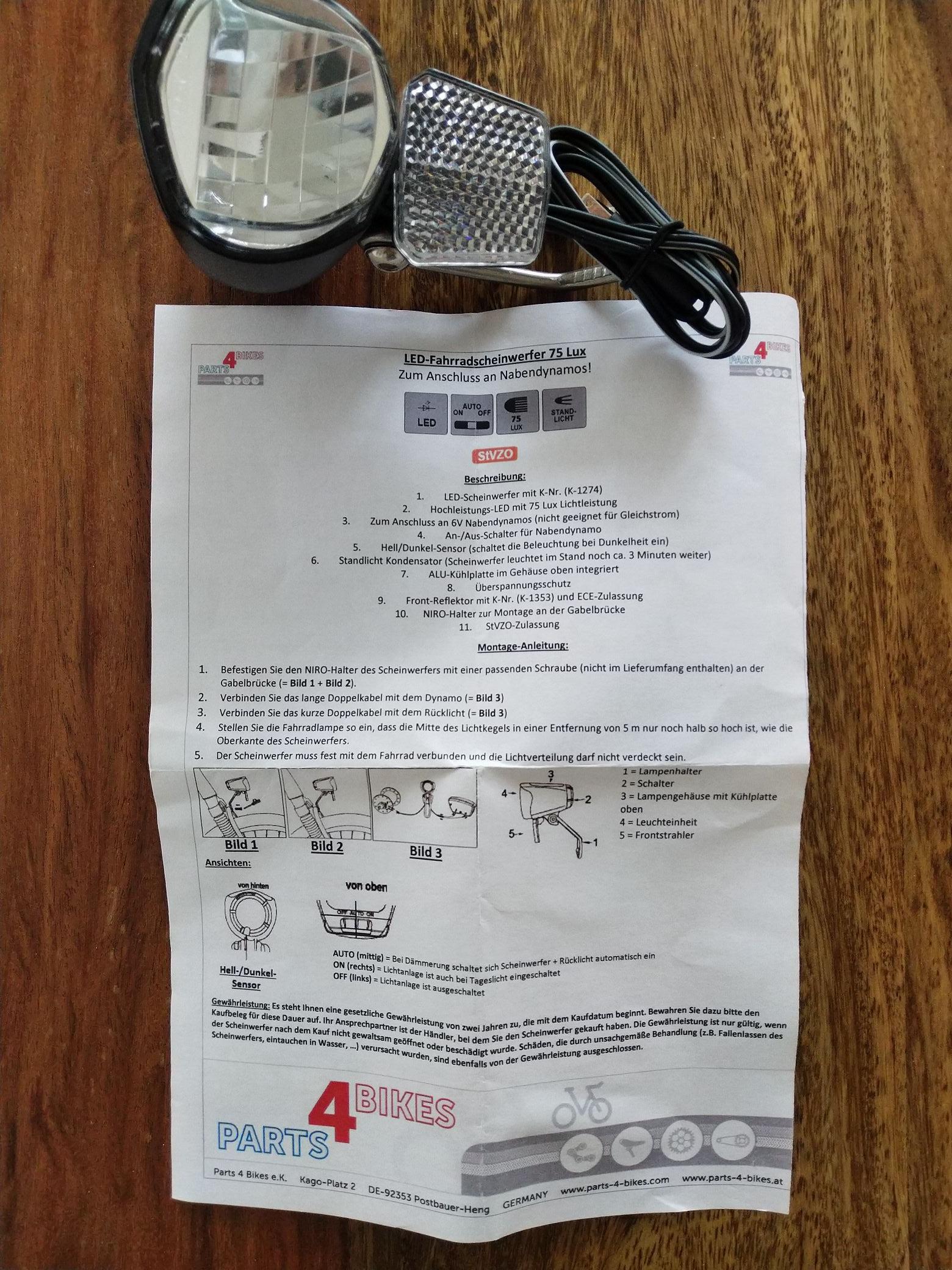 (Prophete) P4B Fahrrad LED Front Scheinwerfer mit Standlicht für Nabendynamo