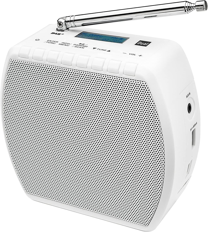 Steckdosenradio Dual DAB STR 100 (DAB+, UKW, Bluetooth, AUX-In, USB-Ladeausgang, ~4h Akku, beleuchtetes Display, Stromstecker abnehmbar)