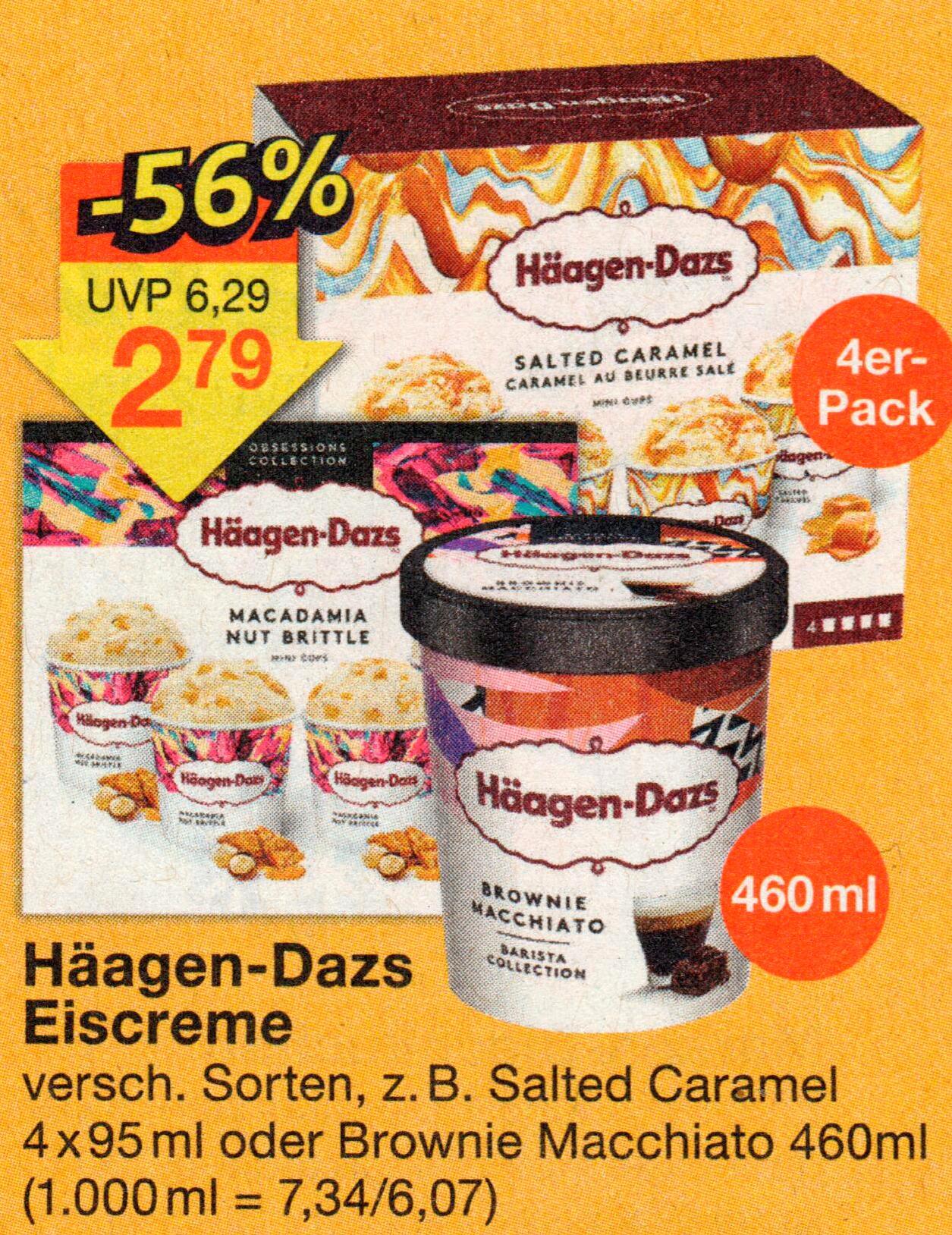 Häagen-Dazs Eiscreme versch. Sorten 4x95ml / 460ml für 2,79€ ab Mittwoch bei JAWOLL