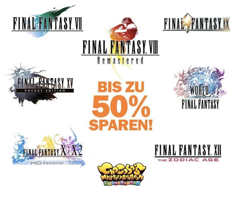 Xbox One - 50% Rabatt auf Final Fantasy VII(7,99€), VIII(11,99€) , IX(10,49€), X-X2