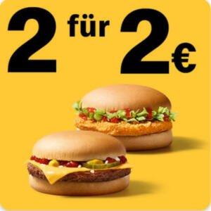 2 Chickenburger oder 2 Cheeseburger für 2€ [McDonald's App]