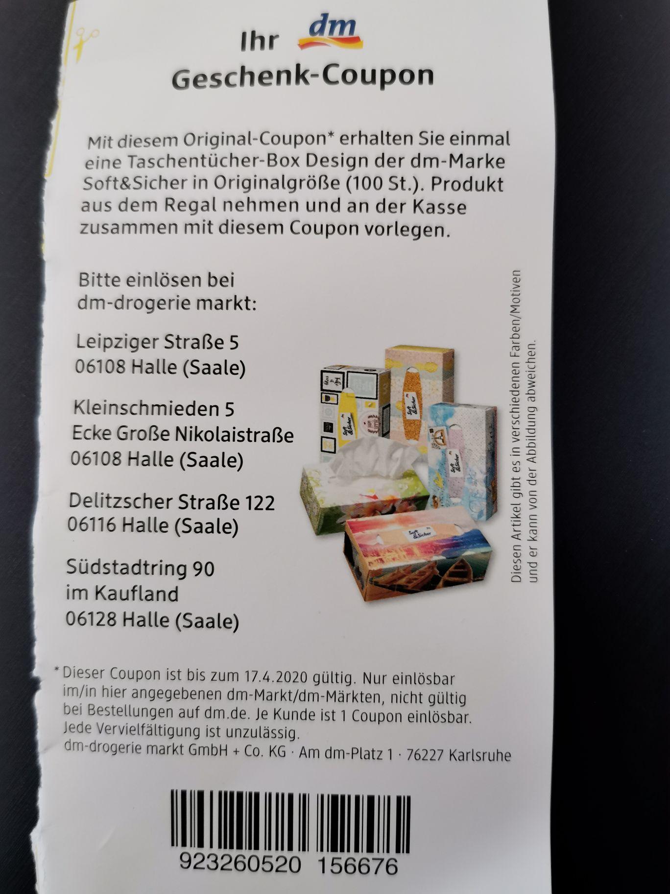 Gratis DM Taschentücher-Box (ggf. Lokal Halle/Saale)