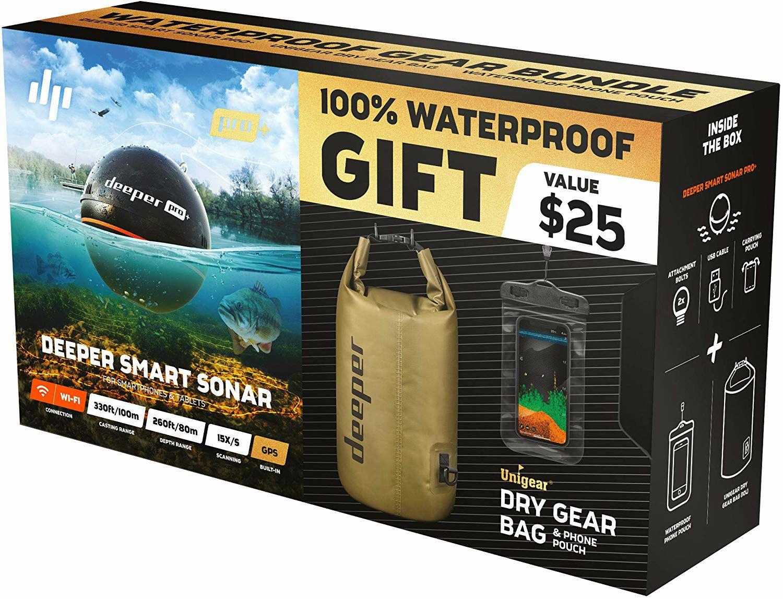 Deeper Smart Sonar PRO PLUS Summerbundle mit Dry Bag und Tasche - WLAN Fischfinder mit GPS, 100m Reichweite (Amazon.fr)