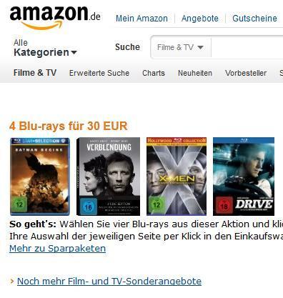 Amazon Blu-Ray Schnäppchen 2für15 - 3für25 - 4für30 Euro