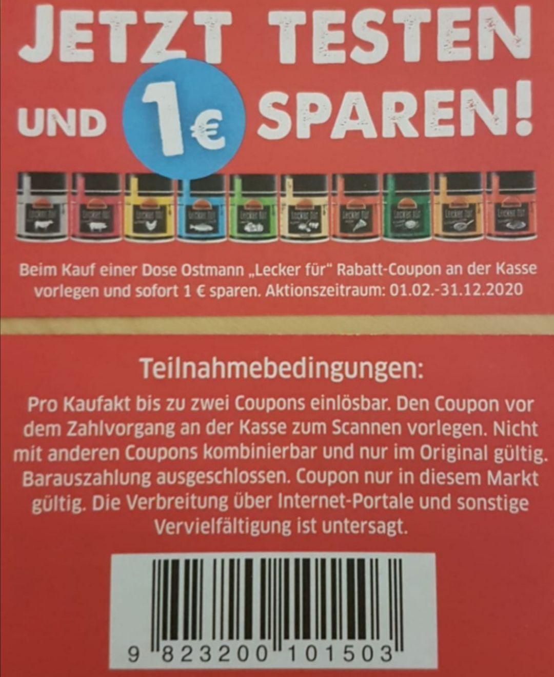 "[Lokal] (Kaufland) Ostmann ""Lecker für"" Gewürze nur 0,50€ dank Coupon (ggf. Lokal)"