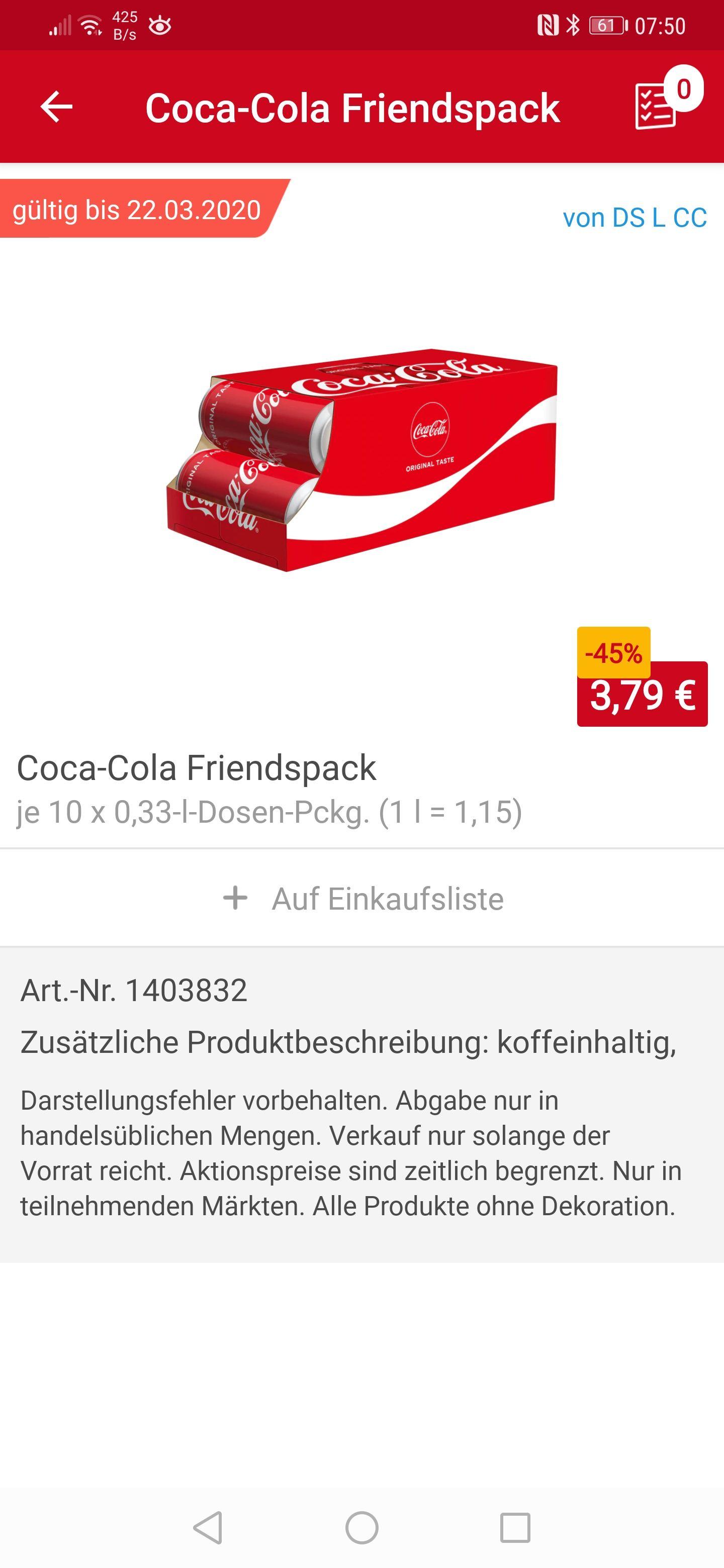 Rewe Lokal 03149 Coca Cola Friendspack, 10 x 0.33 Liter Dose