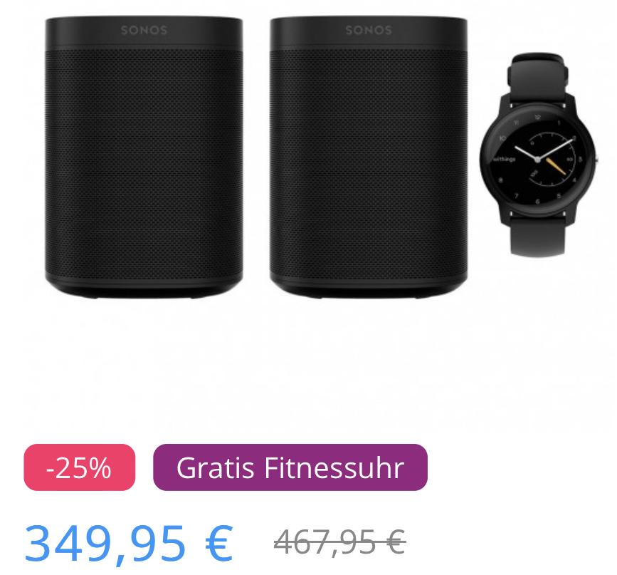 DOPPELPACK Sonos One SL Stereo Set + Withings Move Smartwatch für zusammen 349,95€ inkl. Versandkosten