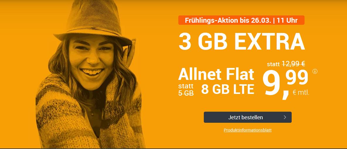 WinSIM LTE All 5 + 3 GB Datenvolumen + monatlich kündbar für 9,99€
