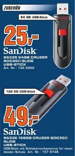 [Saturn Stuttgart und Esslingen] SanDisk USB Stick 64GB für 25€ oder 128GB für 49€