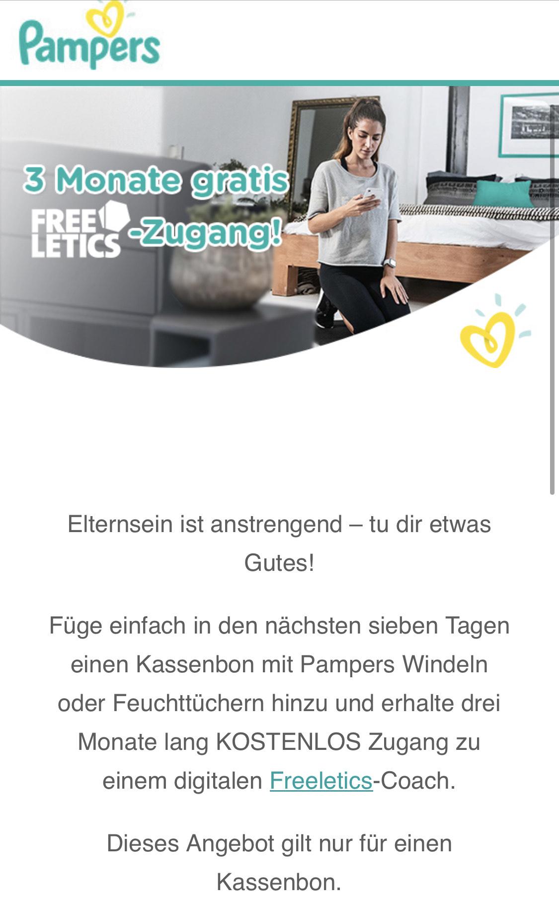 3 Monate kostenlos Freeletics Online Coach beim Kauf eines Pampersproduktes