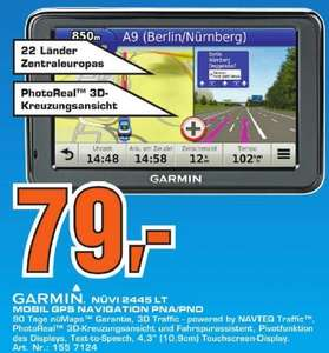 [Saturn Stuttgart und Esslingen] Garmin Nüvi 2445LT Central Europe für 79€ (idealo 102€)