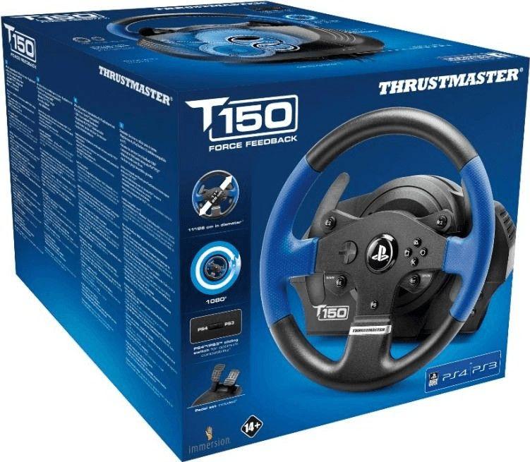 THRUSTMASTER T150 RS (INKL. 2-PEDALSET, PS4 / PS3 / PC), LENKRAD, SCHWARZ/Blau [Berlet]