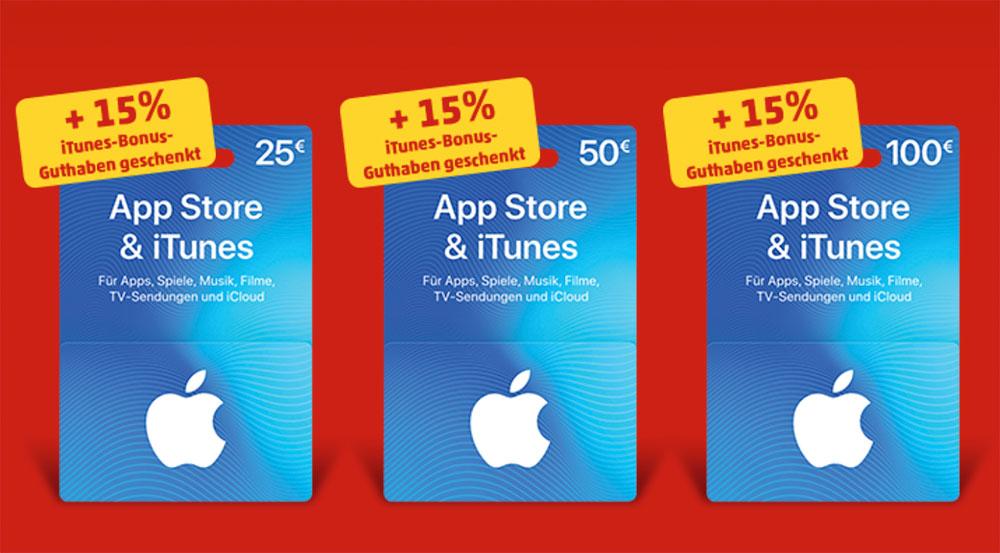 15% zusätzliches Guthaben auf Apple Store & iTunes Geschenkkarte [Penny ab 23.03.]