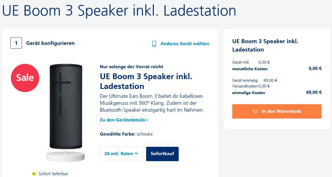 Ultimate Ears UE Boom 3 Night Black ink. Ladestation (Power Up) für