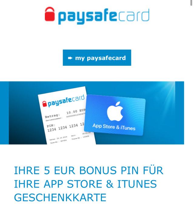 Paysafecard Osteraktion (personalisiert) 5€ iTunes Gutschein geschenkt