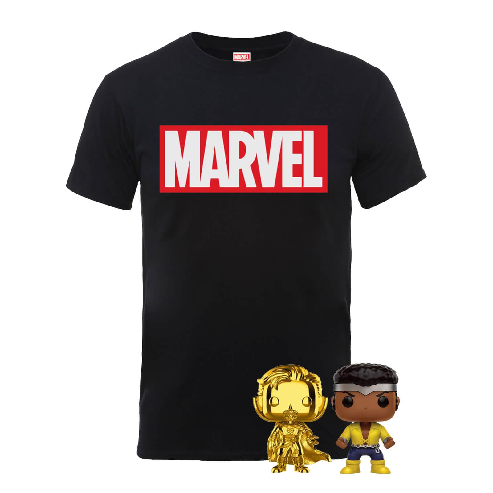 MARVEL T-Shirt & 2 Funko Pops Bundle für Herren, Damen, Kinder