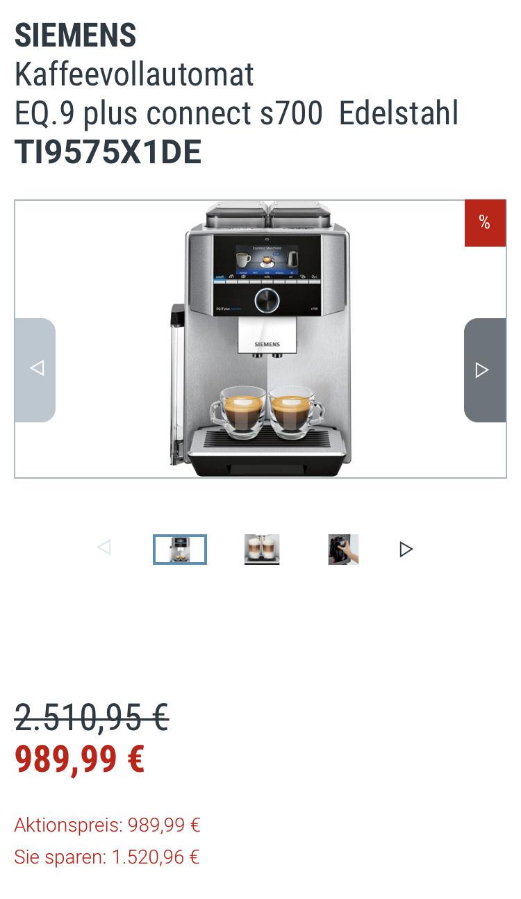 Für Uns Shop SIEMENS Kaffeevollautomat EQ.9 plus connect s700 Edelstahl TI9575X1DE