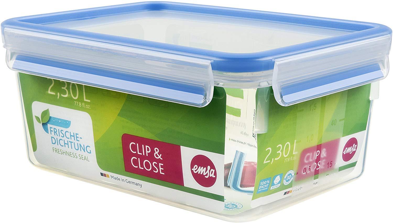 Emsa Clip & Close - Rechteckige Frischhaltedose mit Deckel, 2.3 Liter, Transparent/Blau [Amazon Prime]