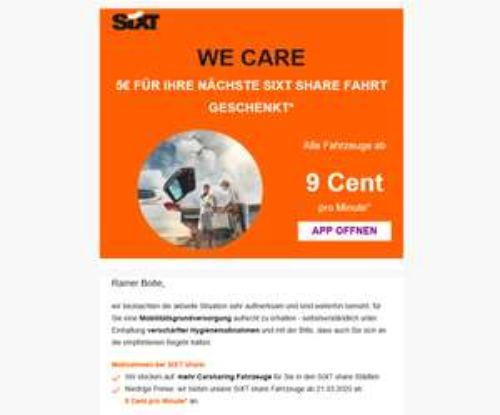 Sixt Share: Alle Fahrzeuge ab 9 Cent/Minute vom 21.03.2020 bis 31.03.2020 in allen Sixt-Share Städten