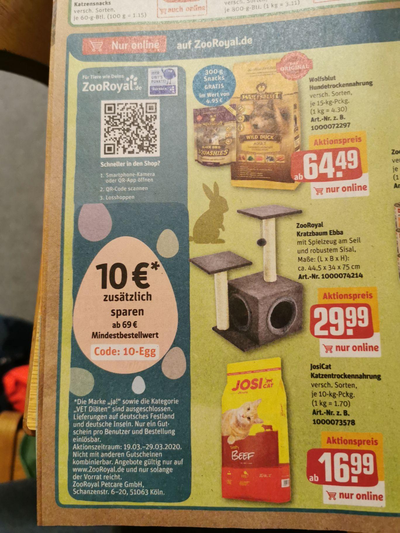 10 Euro Rabatt bei Zooroyal ab 69 Euro Mindestbestellwert